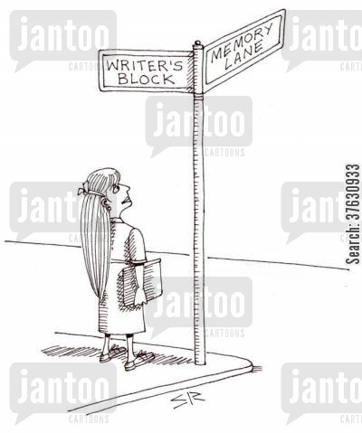 short story cartoon humor: The corner of Writer's Block and Memory Lane,