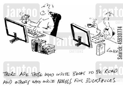 bestsellers cartoon humor: There are those who write books to be read and others who write novels for bookshelves.