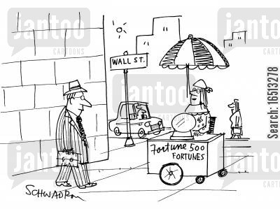 phony cartoon humor: 'Fortune 500' Fortune teller's stall on Wall Street.