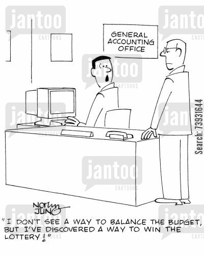number cruncher cartoon humor: 'I don't see a way to balance the budget, but I've discovered a way to win the lottery!'