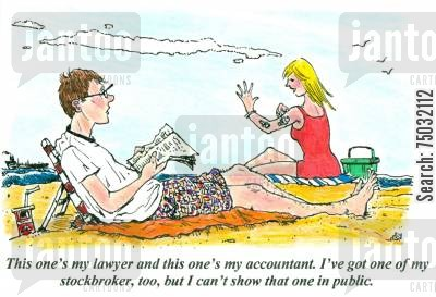 blonde cartoon humor: 'This one's my lawyer and this one's my accountant. I've got one of my stockbroker, too, but I can't show that one in public.'