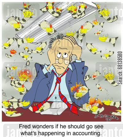 accountancy department cartoon humor: Fred wonders if he should go see what's happening in accounting.