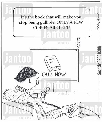 self help cartoon humor: It's the book that will make you stop being gullible. ONLY A FEW COPIES ARE LEFT!