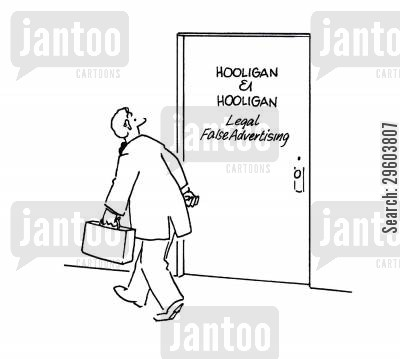 fakers cartoon humor: Legal False Advertising.