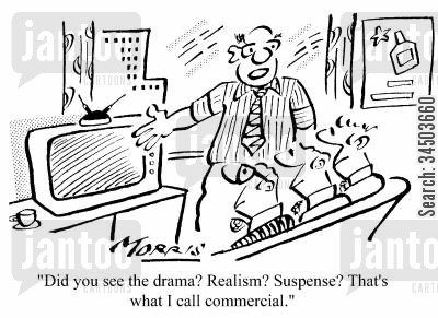 training videos cartoon humor: Did you see the drama? Realism? Suspense? That's what I call a commercial.