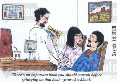 chequebooks cartoon humor: 'There's an important book you should consult before splurging on that boat--your checkbook.'