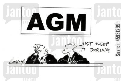 business meetings cartoon humor: AGM - Just keep it boring.
