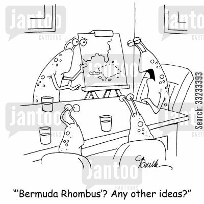 bermuda triangle cartoon humor: ''Bermuda Rhombus'? Any other ideas?'