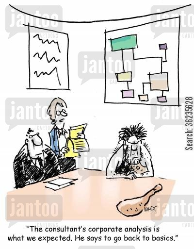 business consultants cartoon humor: The consultant's analysis is what we expected. He says go back to basics.
