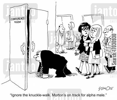 alpha male cartoon humor: 'Ignore the knuckle-walk. Morton's on track for alpha male.'