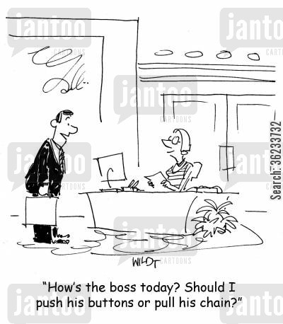 push buttons cartoon humor: How's the boss today? Should I push his buttons or pull his chain?