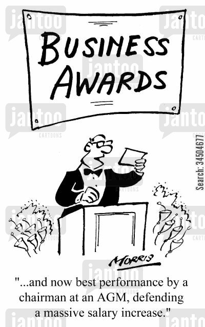 agm cartoon humor: Business Awards - ...and now best performance by a chairman at an AGM, defending a massive salary increase.