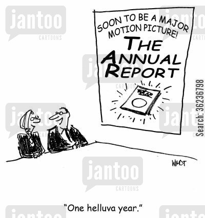 motion picture cartoon humor: 'One helluva year.' (annual report to be made into movie)