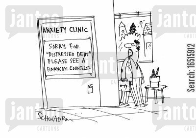financial adviser cartoon humor: Sorry, for 'distressed debt' please see a financial counselor.