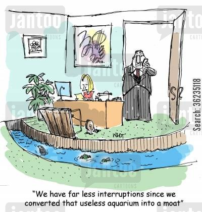 moats cartoon humor: We have far less interruptions since we converted that useless aquarium into a moat.