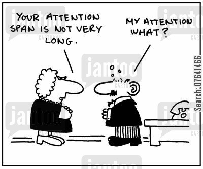 performance review cartoon humor: 'Your attention span is not very long.'
