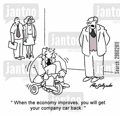 pedalling cartoon humor: 'When the economy improves, you will get your company car back.'