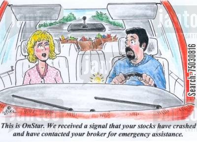 telecommunications cartoon humor: 'This is OnStar. We received a signal that your stocks have crashed and have contacted your broker for emergency assistance.'