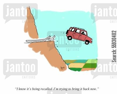 cliff cartoon humor: Recall car - driver going over cliff saying into cell phone