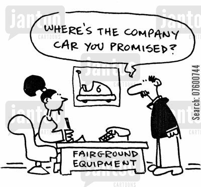 bumper cars cartoon humor: 'Where's the company car you promised?'