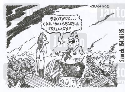 bail out cartoon humor: 'Brother, can you spare a trillion?'