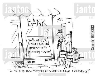 stock markets cartoon humor: 'So this is how they're recovering from insolvency?'