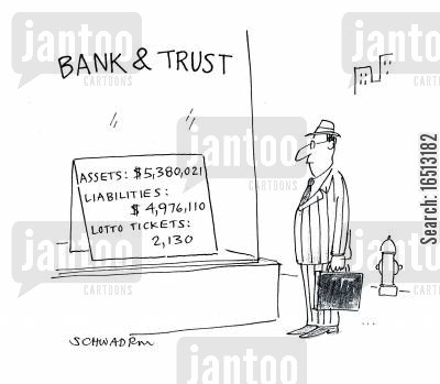 interest cartoon humor: Bank and Trust.