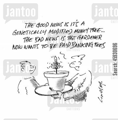money tree cartoon humor: The good news is it's a genetically modified money tree...