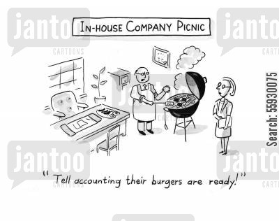 in house cartoon humor: In-house companyoffice BBQ picnic