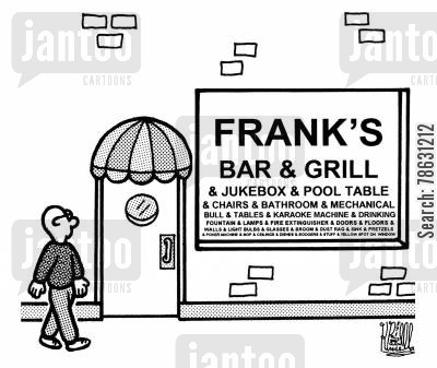 bar and grill cartoon humor: Frank's bar & grill & jukebox & pool table & chairs & bathroom & mechanical bull & tables & karaoke machine & drinking fountain & lamps & fire extinguisher & doors & floors...