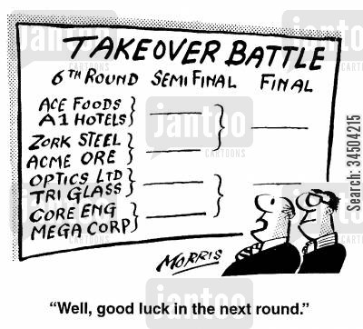 takeover battles cartoon humor: Takeover Battle - Well, good luck in the next round.