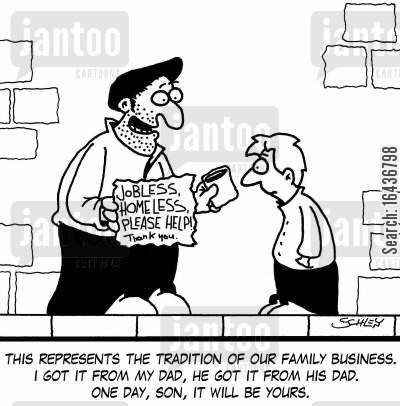family tradition cartoon humor: 'This represents the tradition of our family business. I got it from my dad, he got it from his dad. One day, son, it will be yours.'
