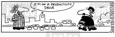 efficiency cartoon humor: 'I'm on a productivity drive.'