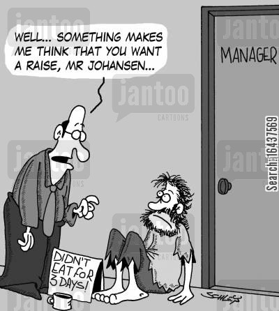 minimum wage cartoon humor: 'Well... something makes me think that you want a raise, Mr Johansen...'