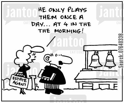 bell ringing cartoon humor: 'He only plays them once a day. At 4 in the morning.'