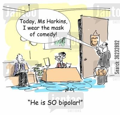 bipolar cartoon humor: Bipolar boss wears different masks.