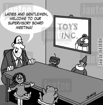 dolls cartoon humor: 'Ladies and gentlemen, welcome to our supervisory board meeting!'