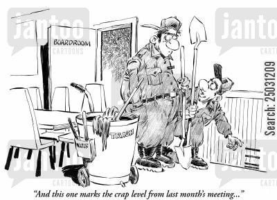 conference room cartoon humor: 'And this one marks the crap level from last month's meeting...'