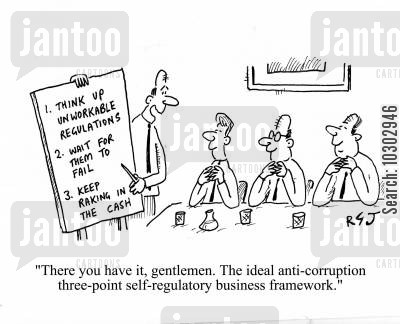 plan cartoon humor: 'There you have it, gentlemen. The ideal anti-corruption three-pint self-regulatory business framework.'