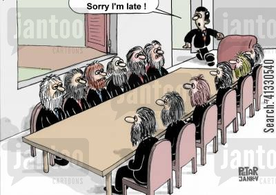 facial hair cartoon humor: 'Sorry I'm late!'