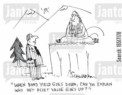 bond yield cartoon humor: 'When bond yield goes down, can you explain why net asset value goes up?'