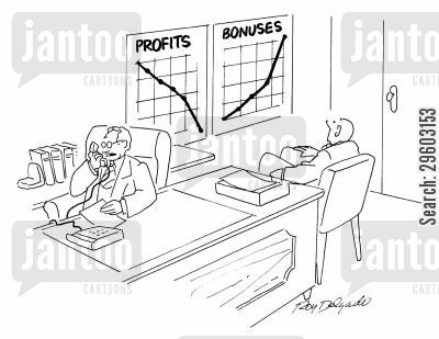 outgoing cartoon humor: Profits and bonuses.