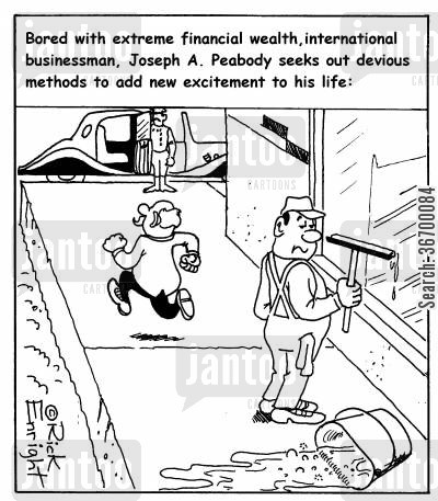 thrill cartoon humor: '...Joseph A.Peabody seeks out devious methods to add new excitement to his life.'