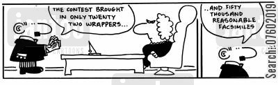 facsimiles cartoon humor: 'The contest brought in only twenty two wrappers...'