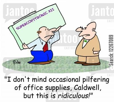 photocopier cartoon humor: SUPERCOPYTRONIC XII, 'I don't mind occasional pilfering of office supplies, Caldwell, but this is RIDICULOUS!'