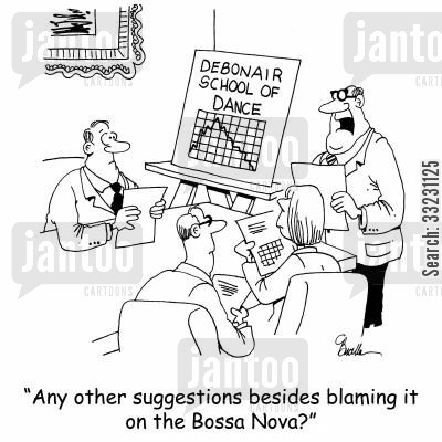 dancing school cartoon humor: 'Any other suggestions besides blaming it on the Bossa Nova?'