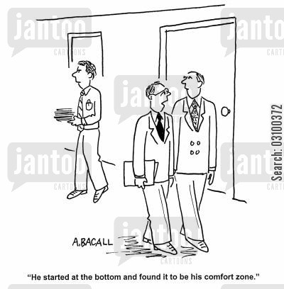 snobbery cartoon humor: 'He started at the bottom and found it to be his comfort zone'