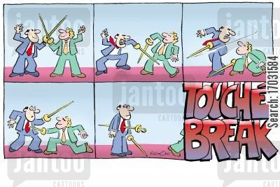 sword fight cartoon humor: Fun at the Office: Touché Break.