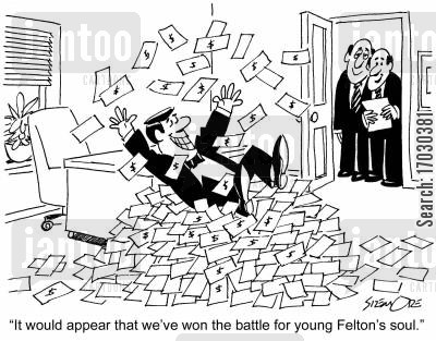 selling your soul cartoon humor: 'It would appear that we've won the battle for young Felton's soul.'