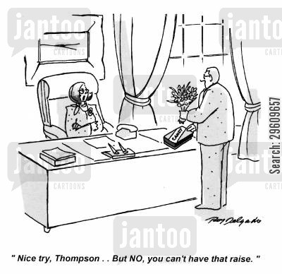 chocolates cartoon humor: 'Nice try, Thompson... but no, you can't have that raise.'